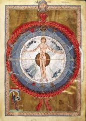 "S0015933 Man as the center of the Universe. From ""De Operatione Dei"", by Saint Hildegard of Bingen (1098-1179, at bottom left). Rupertsburg (Germany), 1200 CE. Cod.lat. 1942, f.9r. Image licenced to Dennis Doyle University of Dayton by Dennis Doyle Usage : - 3000 X 3000 pixels (Letter Size, A4) © Scala / Art Resource"